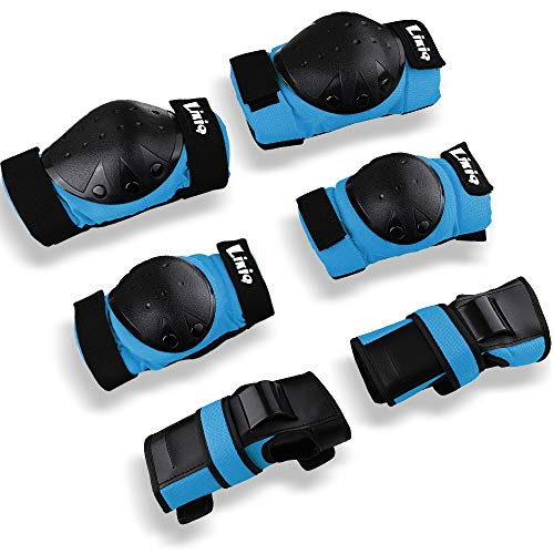 LIKIQ Kids/Youth/Adults Knee Pads Elbow Pads Wrist Guards Protective Gear Set for Skateboard Rollerblading Roller Skates Cycling BMX Bike Inline Skating Scooter Multi Sports (Blue, L(46-58kg)) ()