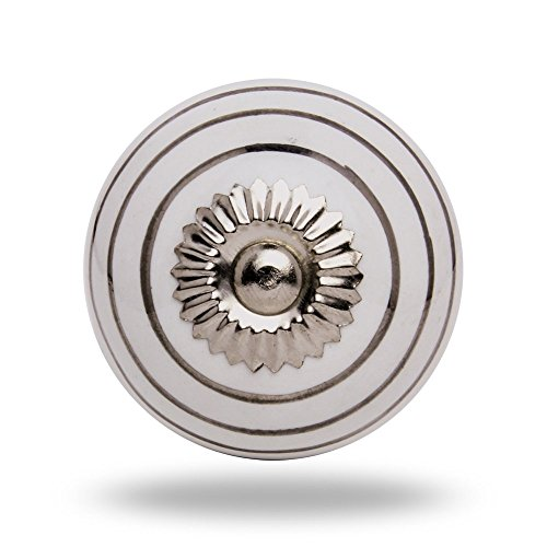 Ceramic Knob Round Silver Circles on White Chrome Finish Drawer Knob Cabinet Cupboard Pull by Trinca-Ferro (grey)
