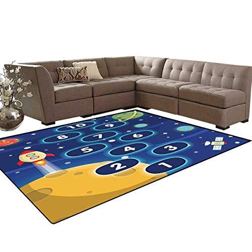 Kids Activity Kids Carpet Play-mat Rug Children Activity Hopscotch Game in Space Science Fiction Themed Cartoon Room Home Bedroom Carpet Floor Mat 6'6