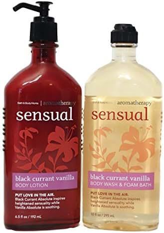 Bath and Body Works Aromatherapy Sensual Black Currant Vanilla Lotion and Foam Bath Body Wash Full Size Set