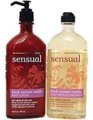 Bath and Body Works Aromatherapy Sensual Black Currant Vanilla Lotion and Foam Bath Body Wash Full Size Set