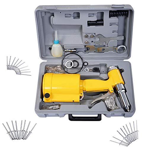 Kepooman Pneumatic Air Riveter Hydraulic Pop Rivet Gun Pneumatic Riveting Tool Rivet Gun Kit with Carry Case,3/32
