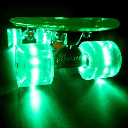 Crystal Complete Deck Set (Sunset Skateboards Alien Complete Skateboard with Green Wheels, 22-Inch, Green)