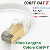 BlueCube Network CAT7 600MHz Shielded SSTP Bare Copper Flat Ethernet Cable with Snagless RJ45 Connectors