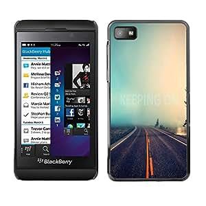Caucho caso de Shell duro de la cubierta de accesorios de protección BY RAYDREAMMM - Blackberry Z10 - Road Infinity Nature Mist Forest Travel Car