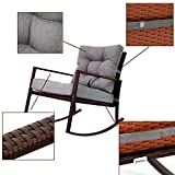 Kinbor Outdoor Furniture Patio Rocking Chair Armchair Rattan Rocker Chair Outdoor Garden Rocking Chair Wicker Lounge with Thick, Washable Cushions For Backyard, Pool, Porch w/Cushion (Grey)