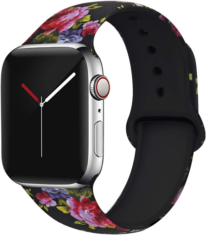 OriBear Compatible with Apple Watch Band 40mm 38mm Elegant Floral Bands for Women Soft Silicone Solid Pattern Printed Replacement Strap Band for IwatchSeries 4/3/2/1 S/M Sexy Leopard