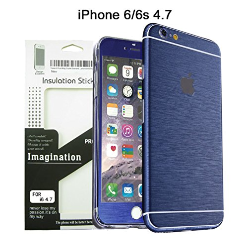 Brushed Metal Full Body Skin Sticker Aluminum Decal Wrap Cover for iPhone 6 / 6s (Blue), Dustproof - Waterproof - Oilproof and fingerprints - Brushed Iphone Aluminum