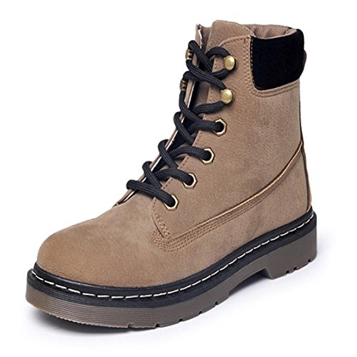 Women Suede Lace-UP flat Martin boots Rubber sole Non-slip Comfortable Breathable outdoor office /ladies ankle boots khaki UTj9e