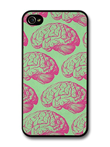 Funny Gross Cool Pink Brain Illustrations on Green case for iPhone 4 4S