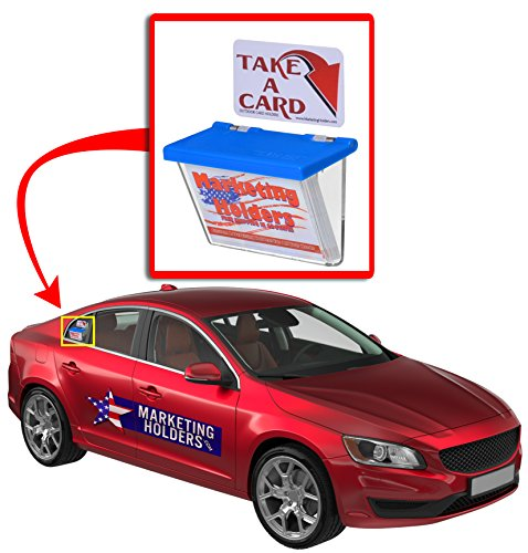 Marketing Holders Outdoor Vehicle Business Card Holder FREE Exterior (TAKE A CARD) Sticker included as Pictured (Blue Lid, 2) by Marketing Holders