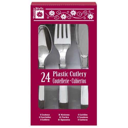 Silver Plastic Silverware Guests 24pcs