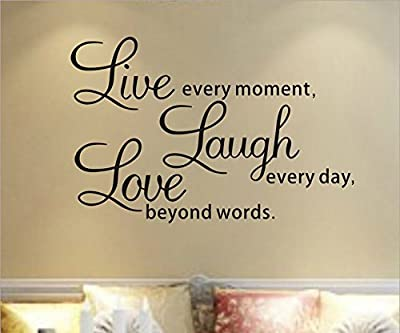 YINGKAI Live Every Moment... Inspirational Quotes Living Room Wall Decal Sticker Home Decor