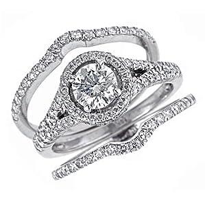 Amazon.com: 14k White Gold Round Diamond Engagement Ring