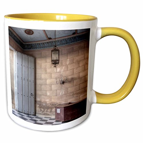 3dRose RONI CHASTAIN PHOTOGRAPHY - DOOR, DESK, LIGHT, FLOOR - 15oz Two-Tone Yellow Mug -