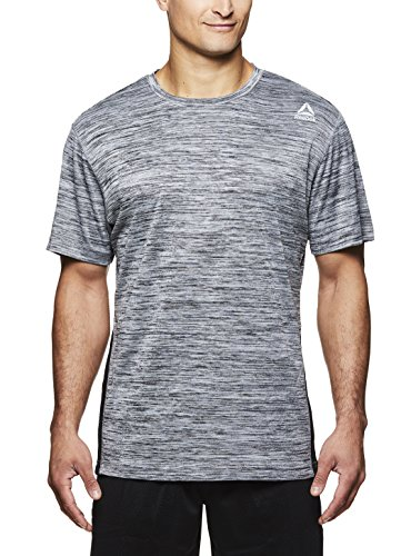 Reebok Men's Supersonic Crewneck Workout T-Shirt Designed with Performance Material - Charcoal Heather - Muscle up, (Reebok Pump Up)
