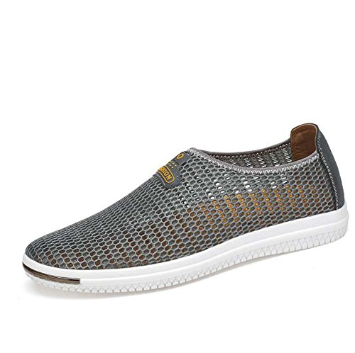 Bomba Ponerse Mocasín Hilado de red Malla Sandalias Casua Zapatos Hombres Brathable Hueco Antideslizante Pedal Zapatos Sneker Conducción Zapatos Zapatos de senderismo Zapatos para correr Tamaño de la Grey