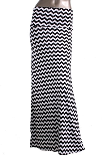 2LUV Women's Multicolored Mix Print Floor Length Maxi Skirt White & Black-1 S (ASK-9001PS-F11)