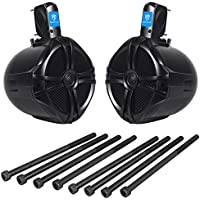 Pair of Jeep Wrangler 8 Black Waterproof Rollbar Speakers Totalling 500 Watts