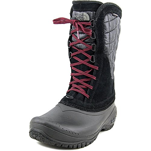 The North Face Women's Thermoball Utility Mid Insulated Boot - TNF Black/Deep Garnet Red - 7