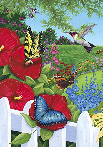 - Toland Home Garden Garden Frenzy 12.5 x 18 Inch Decorative Spring Flower Hummingbird Butterfly Garden Flag