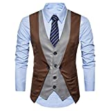 Dressffe Men Formal Tweed Check Double Breasted Waistcoat Retro Slim Fit Suit Jacket (XL, Coffee)