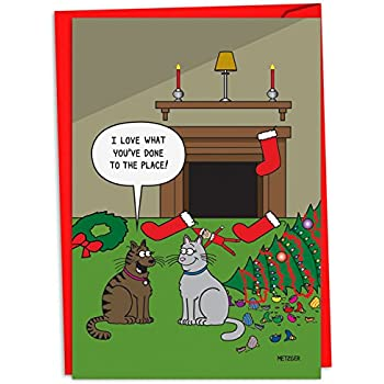 12 cat decor christmas cards with envelopes 4 58 x 6