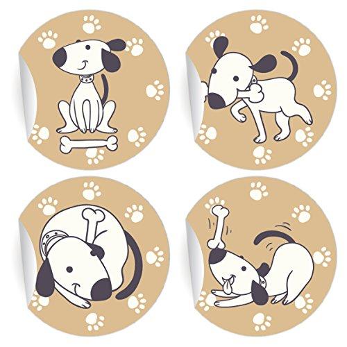 24 lustige Comic Hunde Aufkleber | Sticker, MATTE Papieraufkleber für Einladungen, Geschenke, Etiketten für Tischdeko, Pakete, Briefe und mehr (ø 45mm; 6 x 4 Motive)