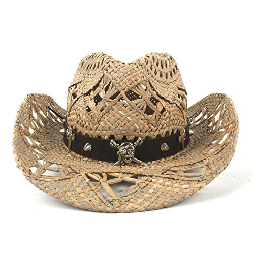 (Cowboy Hat Women Men Handmade Weave Cowboy Hats for Lady Tassel Summer Western Sombrero Hombre Lifeguard)