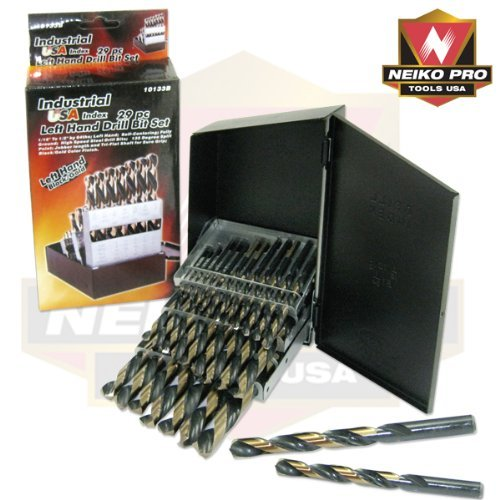 Industrial Usa Index - Industrial USA Index 29pc Left Hand Drill Bit Set (Black/Gold Finish) by Neiko