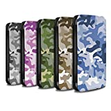 STUFF4 PU Leather Wallet Flip Case/Cover for Apple iPhone 8 Plus / Multipack Design / Camouflage Army Navy Collection