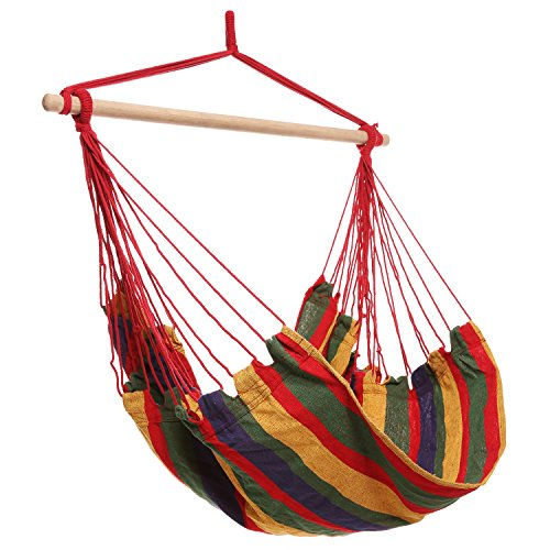 Homdox Hanging Rope Hammock Chair Porch Swing Seat for Indoor or Outdoor Spaces Max.265 Lbs with One Spreader Bar Red Green