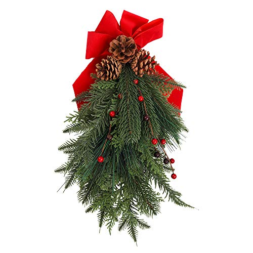 EOOUT Artificial Mixed Pine with Pine Cones Christmas Teardrop Swag, 18