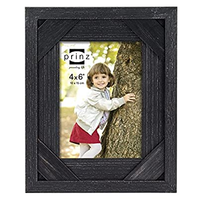 PRINZ Barnes Antique Distressed Barnwood Frame, 8 by 10-Inch, Black -  - picture-frames, bedroom-decor, bedroom - 519jk0mND3L. SS400  -