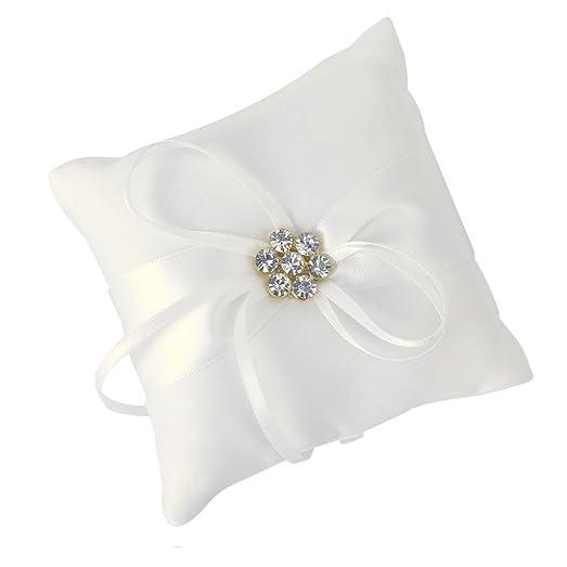 Ivory Satin Flower Wedding Party Pocket Ring Pillow Cushion
