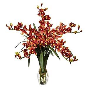 Cymbidium Orchid with Vase Silk Flower Arrangement 13