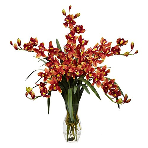 Cymbidium-Orchid-with-Vase-Silk-Flower-Arrangement