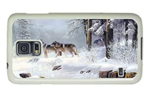 Hipster Samsung Galaxy S5 Case design covers winter wolves art PC White for Samsung S5