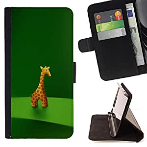 DEVIL CASE - FOR HTC One M8 - Giraffe Figurine Art Drawing Cartoon Character Animal - Style PU Leather Case Wallet Flip Stand Flap Closure Cover