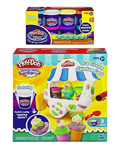 Play-Doh Sweet Shoppe Ice Cream Sundae Cart Playset and Play-Doh Plus Color Set, NET WT 8OZ, 8-Pack (Bundle) (Play Doh Ice Cream Set compare prices)