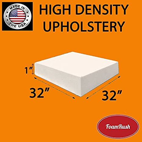 FoamRush 6 x 32 x 32 Upholstery Foam Cushion High Density (Chair Cushion Square Foam for Dinning Chairs, Wheelchair Seat Cushion Replacement) FM-063232hd