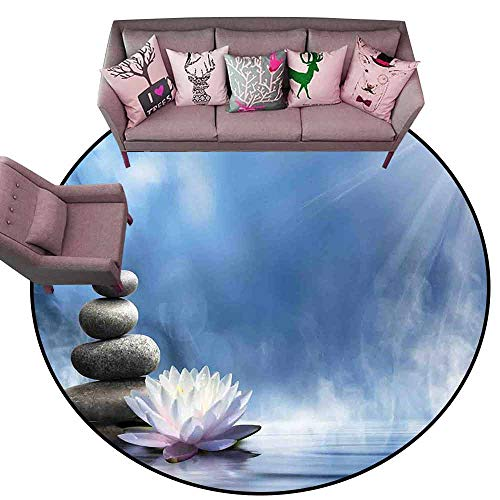 Polyester Non-Slip Doormat Rugs Colorful Spa Decor,Purity of The Zen Massage Magic Lily Stones Sunbeams Spirituality Serenity Diameter 54