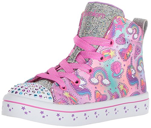 Skechers Kids Girls' TWI-Lites-Princess Party Sneaker, Multi, 2.5 Medium US Little Kid