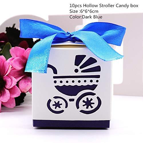 Xiaogongju 10Pcs Baby Shower Decoration Baby Footprint Candy Box Kids Birthday Boy Girl Party Favor Pink/Blue Laser Cut Stroller Gift Box Stroller Dark Blue]()
