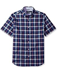 Men's Wrinkle Resistant Short Sleeve Plaid Button Down Shirt