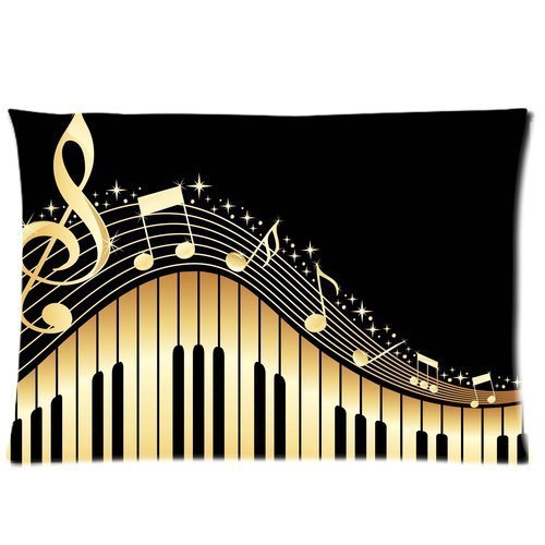 Caitin Music Note Rectangle Pillow Cases Pillowcases Cover 20X30 (Two Sides)