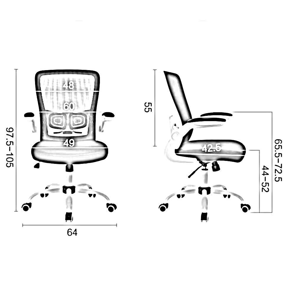 DALL kontorsstol nät hög rygg kontorsmaterial multifunktion justerbar höjd svängbar skrivbordsstol (färg: Svart) Grått
