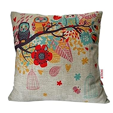 HOSL Blend Linen Square Decorative Throw Pillow Case Cushion Cover Owls with Birdcage 18  X18