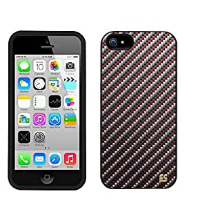 Iphone 5C/ IPhone 5C Lite (T-mobile,AT&T,Verizon,Sprint,International)Beyond Cell ?Premium Protection Slim Light Weight 2 piece Snap On Non-Slip Matte Hard Shell Rubber Coated Rubberized Phone Case Cover With Design - Red Carbon Design - Retail Packaging