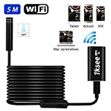 iksee WiFi Wireless Endoscope, Borescope Snake Inspection Camera with 8 LED Lights 2.0 Megapixels HD for Android Smartphone, iPhone, Tablet, Windows & Mac OS Computer -16.4 ft(5M)